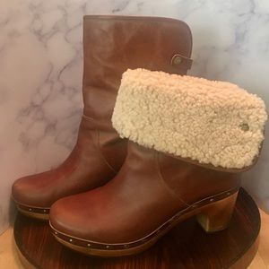 Ugg Lynnea Brown Leather Clog Boot